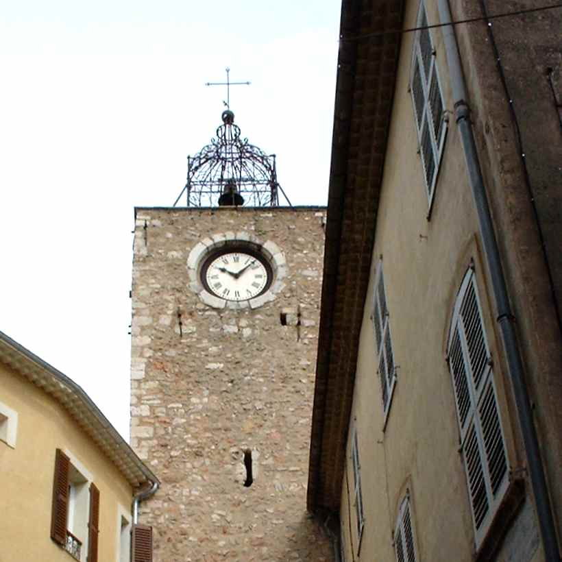 Aups wrought iron clock tower