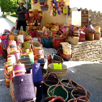 Gordes market - colourful baskets