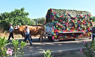 decorated ox wagon