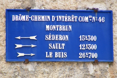 Montbrun old road sign