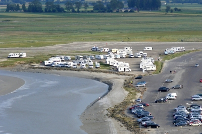Motorhome parking at Mont St Michel