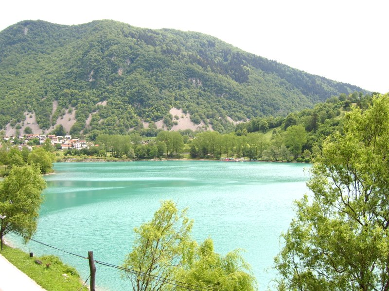 Turquoise lake at Most na Soci