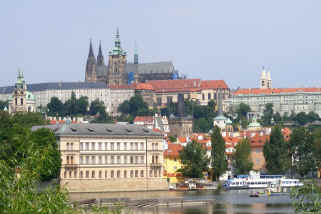 Prague St Vitus' cathedral from Vltava river