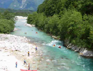 Water sports on the Soca River