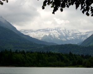 Grey mountains from grey Wolfgangsee